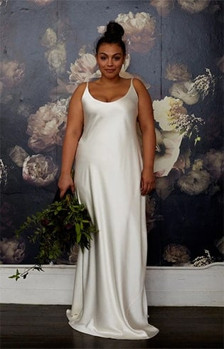 Silk Charmeuse Bias Gown with Gathered Train