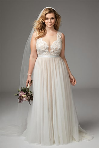 Soft Tulle with Plunging Neckline Dress