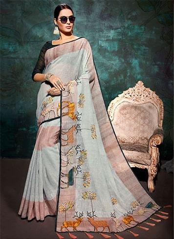 Blue Printed Khadi Saree