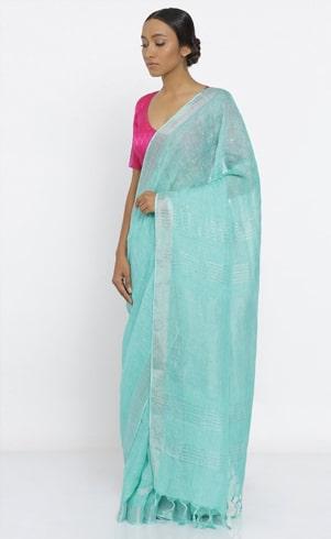 Blue Pure Linen Saree With Silver Border