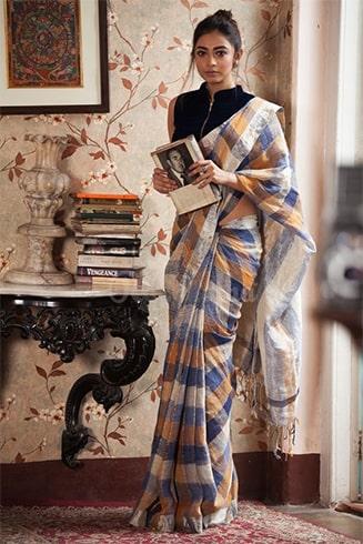 Check Linen Saree