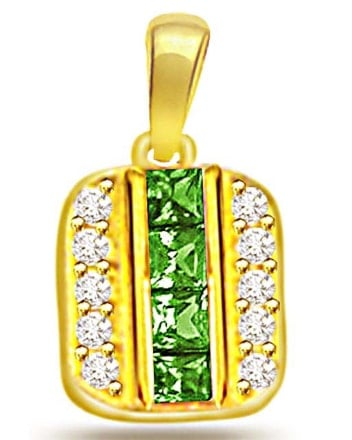 Diamond and Emerald Gold Pendant