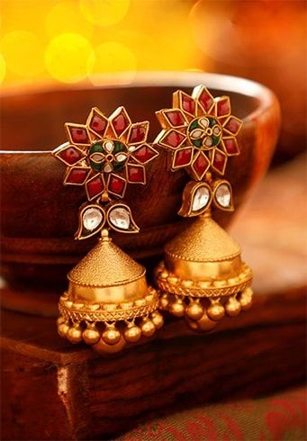 Floral Colored Jhumkas