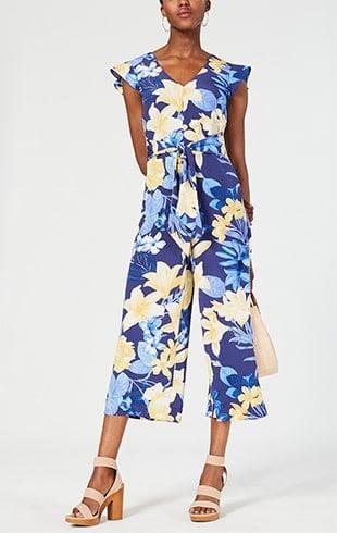 Floral Tie-Waist Jumpsuit