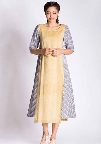 Front Panelled Khadi Dress