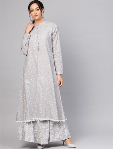 Grey Khadi Print Lehenga Choli with Jacket