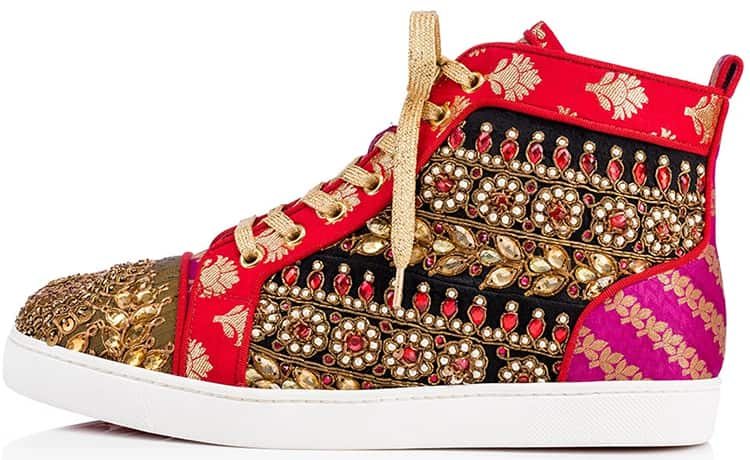 Hand-embroidered Saree Fabric Sneakers