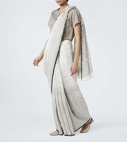Handwoven Linen Saree With Shoe
