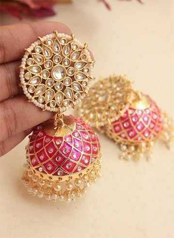 Jhumkas with Kundan Work