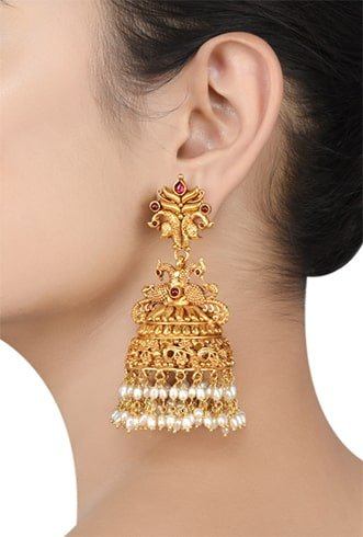 Jhumkas with Pearl Details