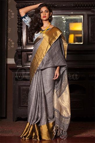 Grey Colored Khadi Silk Saree