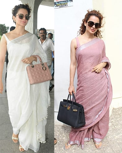 Linen Saree With Bags