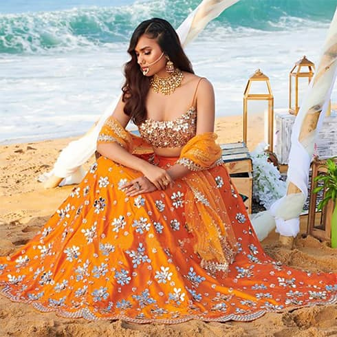 Orange mirror work lehenga