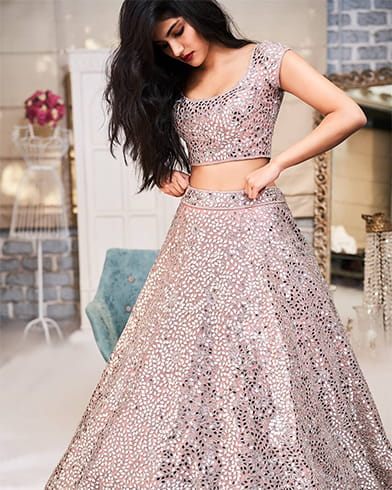 Pink lehenga with silver mirror work