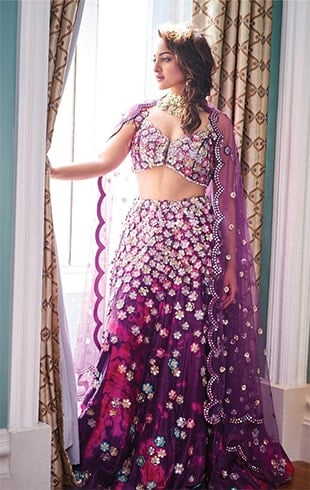 Purple mirror work lehengas