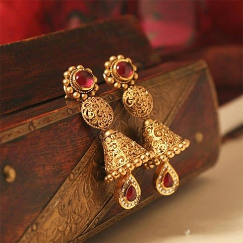 Ruby and Gold Jhumki Earrings