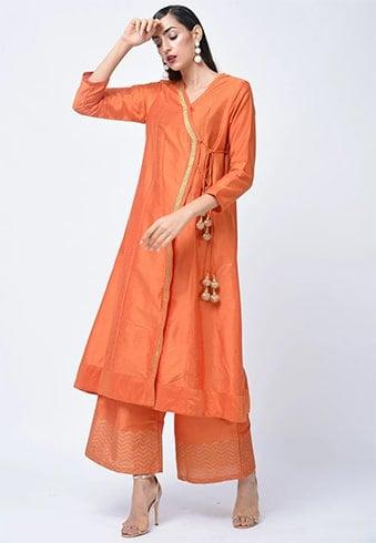 Art Silk Angarakha Style Kurta Set