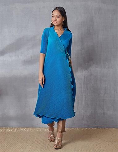 Turquoise Pleated Angarakha