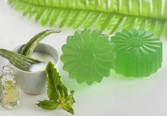DIY Aloe Vera Soap with Mint