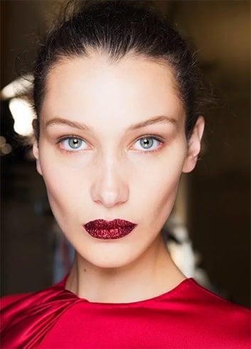 Double Red Glitter Lips