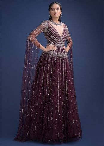 extended floor length sleeves gown