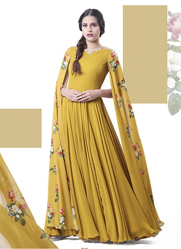 floor length sleeved anarkali