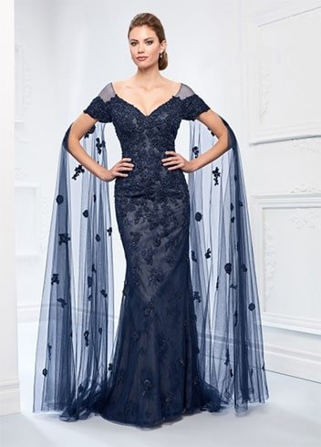 floor length sleeves evening dress