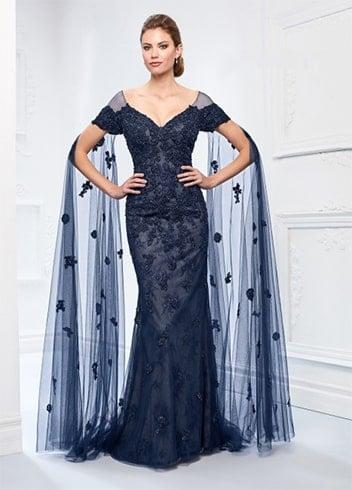 floor length sleeves evening dress