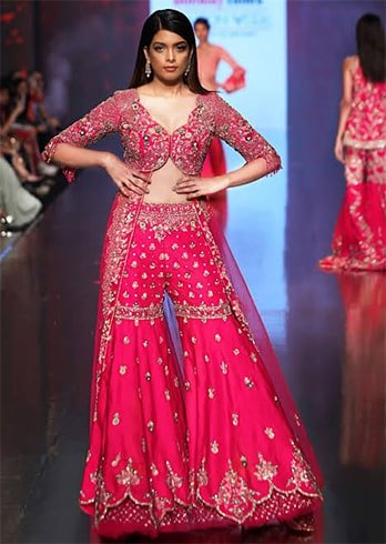 Floral Embroidered Sharara Set with Pink Jacket