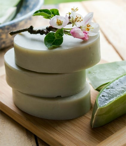Homemade Aloe Vera Soap with Cocoa Butter