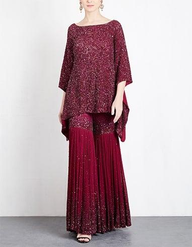 Maroon Embellished Sharara Set