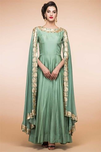 mint green silk anarkali churidar suit