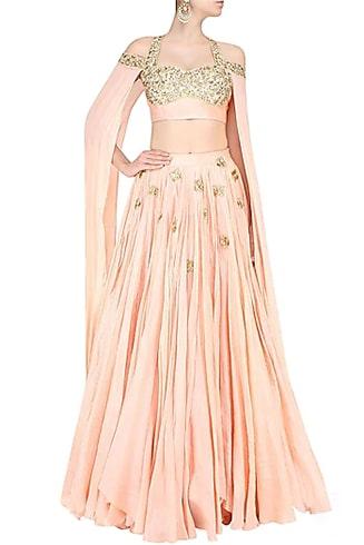 pastel pink floor length sleeves lehenga set