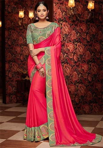 Pink Georgette Saree