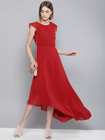 red asymmetrical dress
