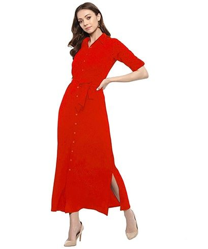 red button-down maxi shirt dress