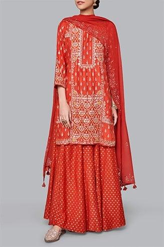 Red Silk Sharara Suit
