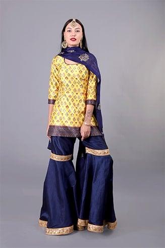 Yellow and Navy Printed Sharara Set
