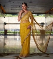 mustard net saree