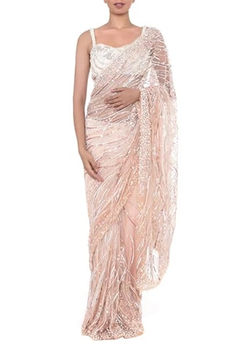 peach and blush embroidered saree